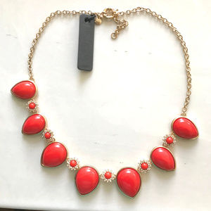 NWT! J Crew Red Lucite White CZ Gold Necklace!